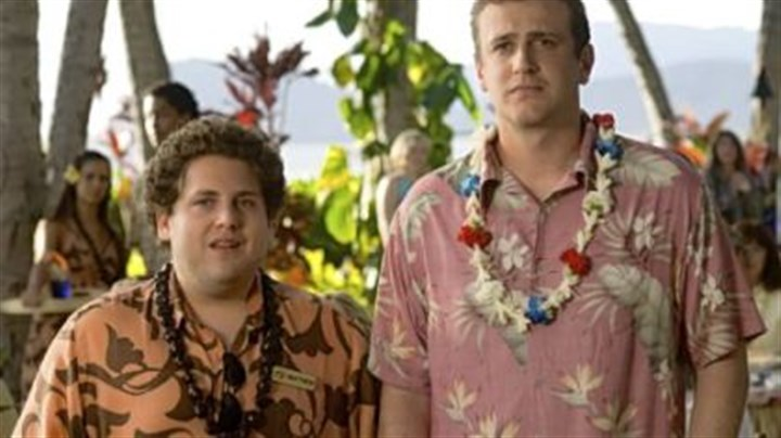 """Forgetting Sarah Marshall"" Matthew the waiter/aspiring musician (Jonah Hill, left) gives advice to struggling musician Peter Bretter (Jason Segel) ""Forgetting Sarah Marshall."""