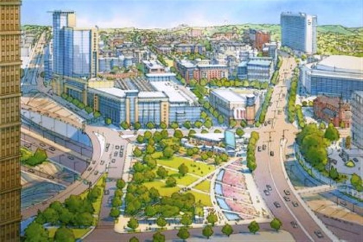 "former Civic Arena site In a ""conceptual"" view of what the new development at the former Civic Arena site could look like, Consol Energy Center and the Epiphany Church are seen on the far right."