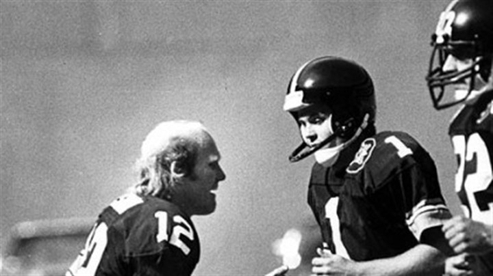 Former Steelers Terry Bradshaw and Gary Anderson Steelers Terry Bradshaw, Gary Anderson, Rick Woods, 1982.
