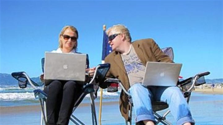 "'FrackNation' creators ""FrackNation"" creators Ann McElhinney and Phelim McAleer sitting on the beach at Marina del Rey in greater Los Angeles."