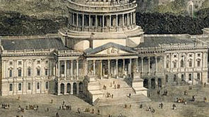 "'Freedom's Cap' From cover of ""Freedom's Cap"": a detail from ""Bird's Eye View of the City of Washington with the Capitol in the Foreground,"" from collection of U.S. Senate"