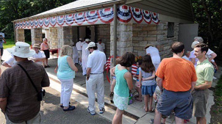 Frick Park Lawn Bowling Club dedication Members of the Frick Park Lawn Bowling Club gather to dedicate the newly renovated club house, originally built in 1940.