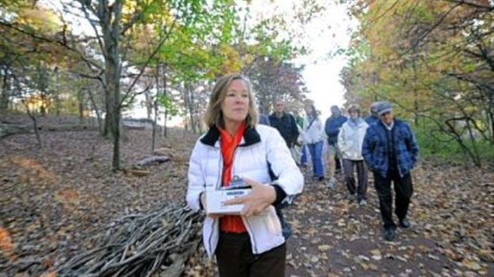 gard Kitty Vagley, director of development for the Pittsburgh Botanic Garden, at a preview of the new forest ecosystems trail at Settlers Cabin.
