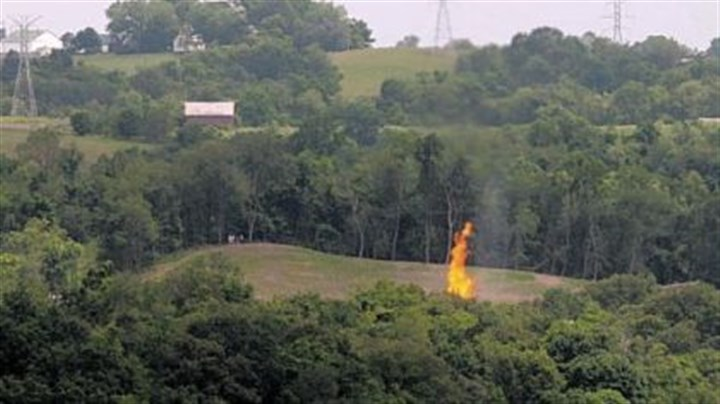 Gas well fire A view of the flames of the gas well fire, from Campbell Hill Road outside of Moundsville, W.Va.