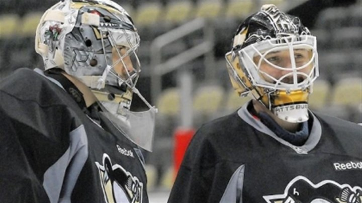 goalies Penguins goalies Marc-Andre Fleury, left, and Tomas Vokoun share a moment at the team's practice Thursday at the Consol Energy Center.