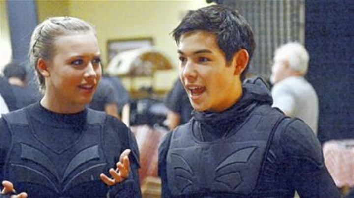 "Gracie Dzienny and Ryan Potter Gracie Dzienny and Ryan Potter on the 31st Street Studios set of the Nickelodeon television series ""Supah Ninjas."""