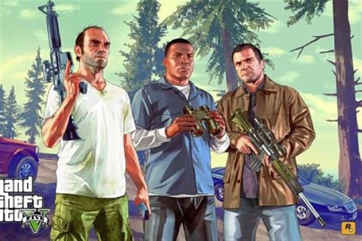 "'Grand Theft Auto V' The trio of characters who expand the gameplay in ""Grand Theft Auto V"" are, from left, Trevor, Franklin and Michael."