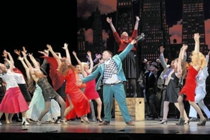 "'Guys and Dolls' from Quaker Valley High School The cast of ""Guys and Dolls"" from Quaker Valley High School performs ""Sit Down, You're Rockin' the Boat"" at the 2012 Gene Kelly Awards at the Benedum Center on May 26. The show won as best musical in budget category I."