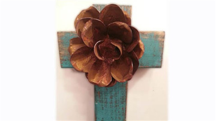 Hand- painted and handmade cross