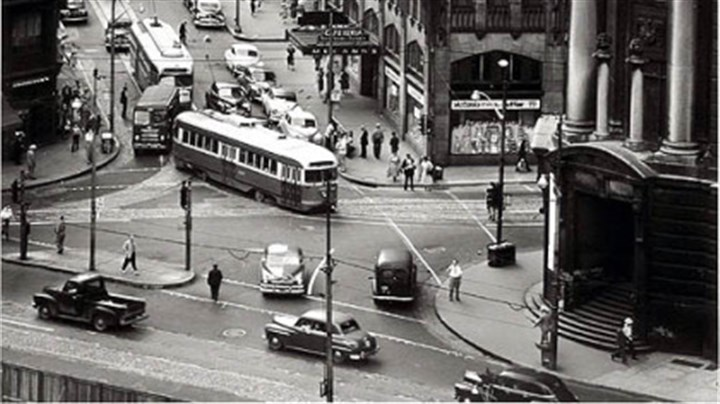 Hare 1 Diamond Market Street Cars and Wabash Terminal, 1951.