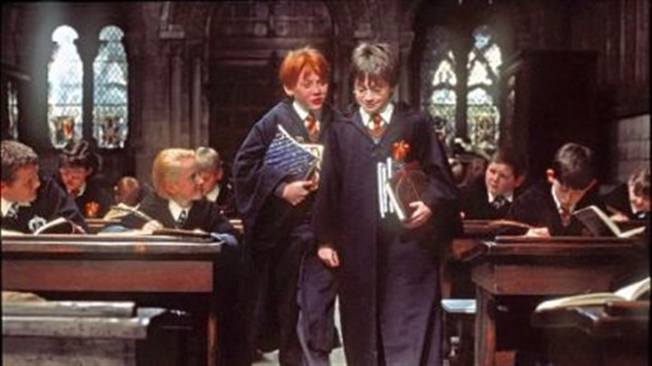 "'Harry Potter and the Sorcerer's Stone' ""Harry Potter and the Sorcerer's Stone"" from 2001, starring Rupert Grint, left, as Ron Weasley and Daniel Radcliffe as Harry Potter, might help you maintain the holiday spirit."