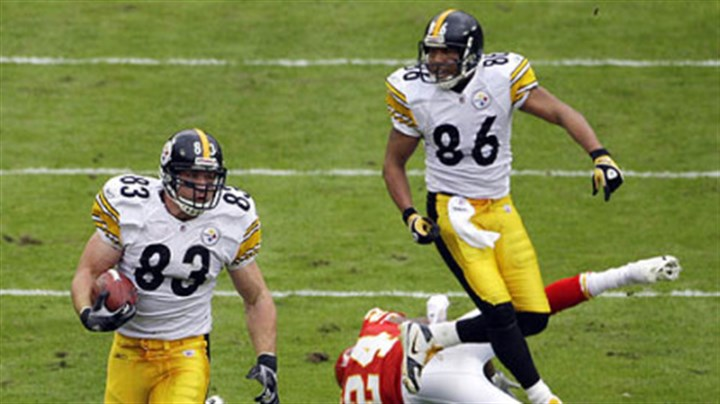 Heath Miller Steelers tight end Heath Miller, left, caught seven passes for 95 yards Sunday in Kansas City.