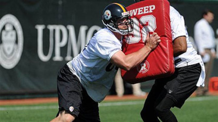 Heath Miller Heath Miller, left, goes up against fellow tight end Wes Lyons in a blocking drill Wednesday at the Steelers' South Side practice facility.