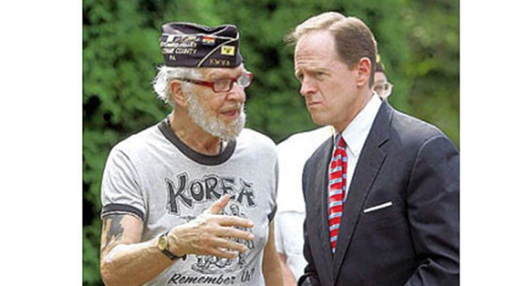 Helping vets find jobs Sen. Pat Toomey, R-Pa., chats with Korean War veteran Robert Alper after speaking Thursday in Wilkes-Barre, in northeastern Pennsylvania. There he discussed a bill he introduced for a one-year pilot program to help veterans find jobs based on military experience. The program would provide new tools for veterans to find jobs online.