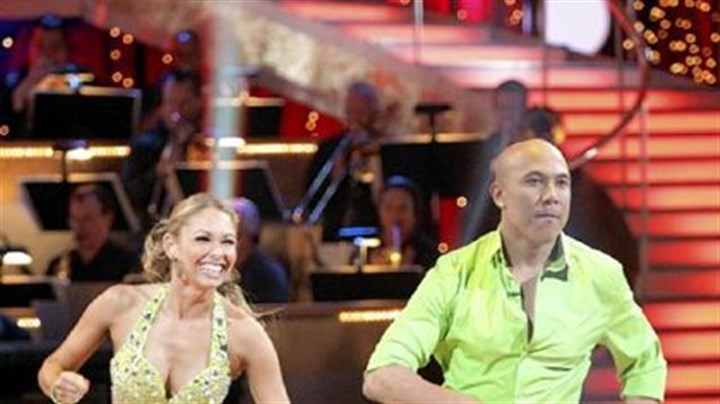 "Hines Ward and his partner Kym Johnson Hines Ward and his partner Kym Johnson compete during the competition ""Dancing with the Stars."""