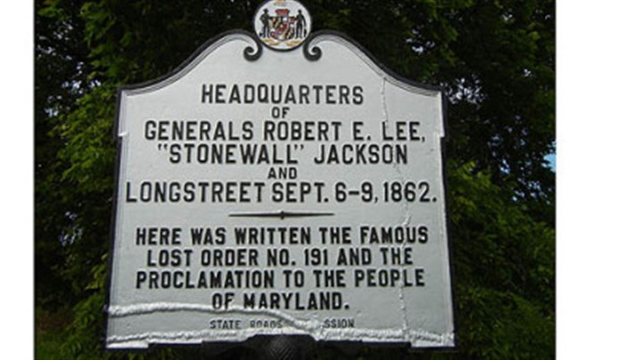 "Historic marker This historic marker was erected near where Robert E. Lee's ""special orders"" were written and lost."