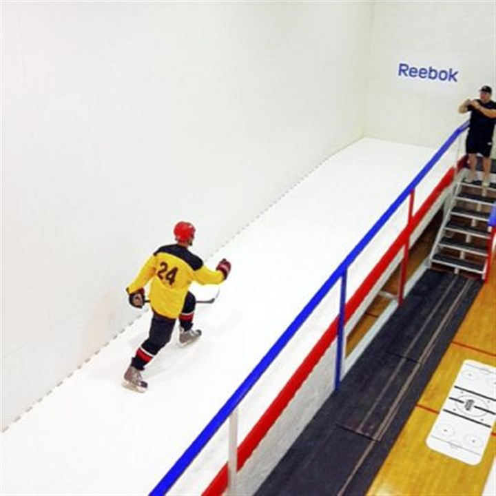 Hockey training center IHC Hockey Training Center at St. Clair Fitness and Racquet Club hosts a synthetic-ice speed ramp.
