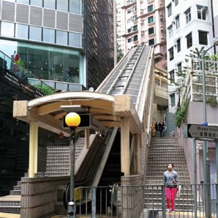 Hong Kong escalator Hong Kong is home to the world's longest outdoor escalator system, constructed in 1993.