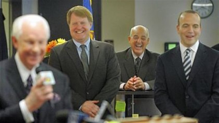 Honor for Wecht Dr. Cyril Wecht laughs heartily as he, Allegheny County Executive Dan Onorato, right, and Rich Fitzgerald, president of Allegheny County Council and second from left, listen to the remarks of former County Executive Jim Roddey, far left, at the dedication Thursday for the Cyril H. Wecht Institute of Forensic Science. The Allegheny County medical examiner's new facility is located at 1520 Penn Ave. in the Strip District.