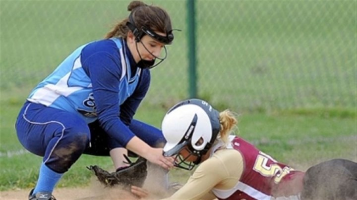Hssoft1 Burrell third baseman Krista York tags out Steel Valley's Skyler Vinay in a WPIAL Class AA first-round game Tuesday. Vinay's two-run double accounted for both Steel Valley runs in a 2-1 win.