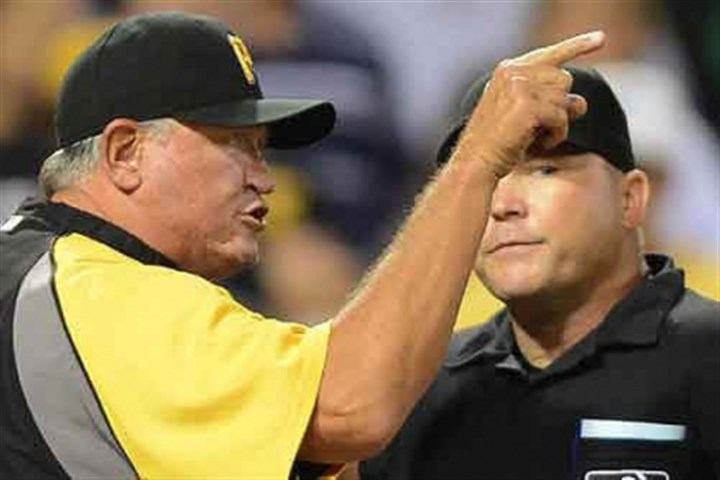 hurdle yelling Pirates manager Clint Hurdle argues with plate umpire Mark Carlson.