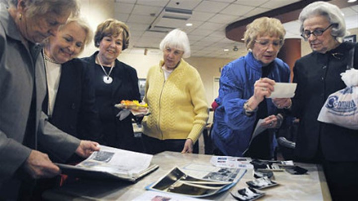 Ice Capades alumni Ice Capades alumni from the 1950s reminisce over pictures and scrapbooks at Mellon Arena yesterday. From left are Patricia Golden Roman, Charlotte Vallo Honea, Arlene Timko Moran, Virginia Barker Reel, Evelyn Gray Shore and Jean Bailey Kaufman.