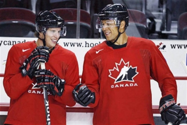 iginla and crosby at practice Sidney Crosby and Jarome Iginla chat during a 2009 practice for the 2010 Olympics. Iginla was traded to the Penguins early this morning.