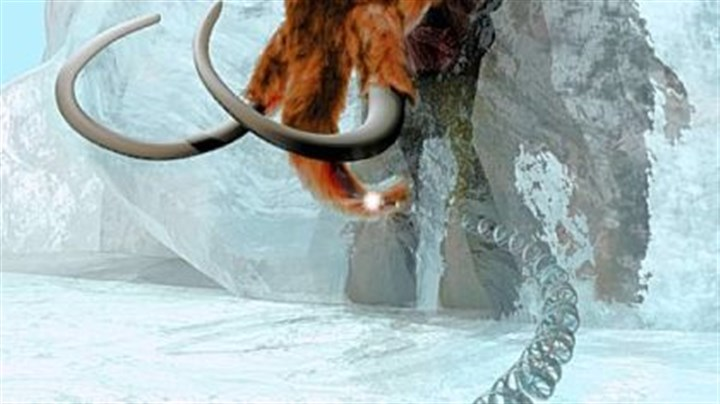 Image of a woolly mammoth This artist's rendering, provided by the Mammoth Genome Project, Penn State University, portrays the unraveling of the genetic code of an extinct animal, the Ice Age's woolly mammoth -- here encased in ice.