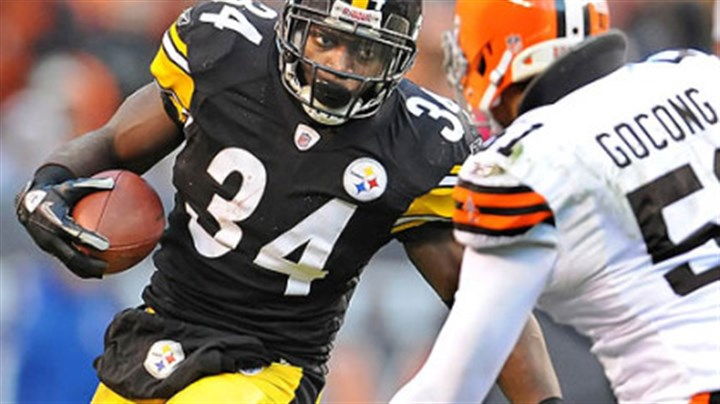 Injured Rashard Mendenhall tore his ACL during this play of the Steelers versus Browns game.