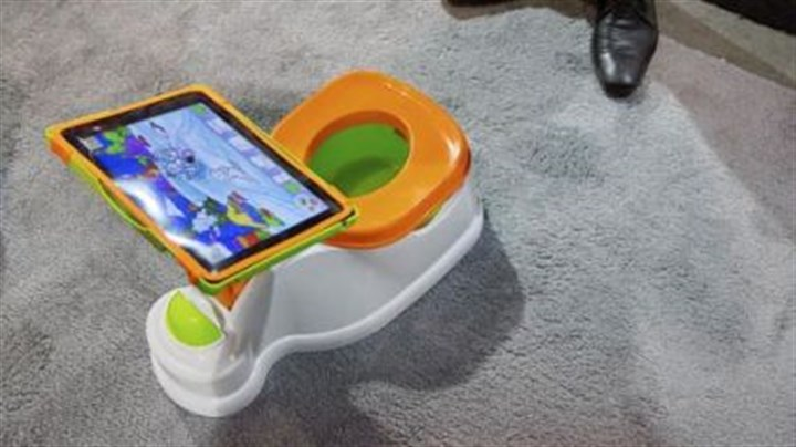 iPotty for iPad The iPotty for iPad potty training device is on display at the CES. No app is available to go with the trainer, but the idea is to keep the child on the toilet for as long as necessary by keeping them digitally entertained.