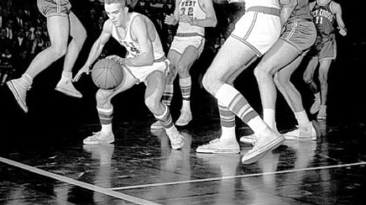 It's been a while The most recent Final Four appearance for the Mountaineers was in 1959, when the team was led by Jerry West, seen faking Holy Cross guard John Shea out of position under the West Virginia basket.