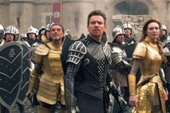 'Jack the Giant Slayer' Ian McShane as King Brahmwell, left, Ewan McGregor as Elmont, Eleanor Tomlinson as Isabelle, and Nicholas Hoult as Jack.