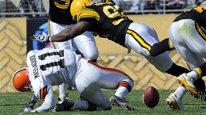 James Harrison Steelers linebacker James Harrison puts a hard hit on Browns wide receiver Mohamed Massaquoi in the second quarter of Sunday's game at Heinz Field. Harrison was fined $75,000 for the hit.