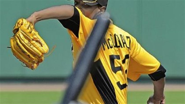 James McDonald Likely No. 3 Pirates starter James McDonald delivers against the Toronto Blue Jays at McKechnie Field Sunday in Bradenton, Fla.