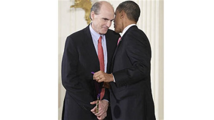 James Taylor and President Barack Obama President Barack Obama presents a 2010 National Medal of Arts to Mr. Taylor on March 2, 2011, during a ceremony in the East Room of the White House in Washington.