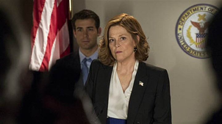 "James Wolk and Sigourney Weaver In ""Political Animals,"" James Wolk portrays Douglas Hammond and Sigourney Weaver is his mother, Elaine Barrish."
