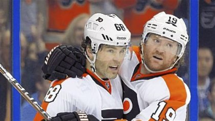Jaromir Jagr and Scott Hartne Jaromir Jagr, left, celebrates with Scott Hartnell after assisting on a Hartnell goal Tuesday against Tampa Bay. Jagr has 11 goals and 19 assists this season.