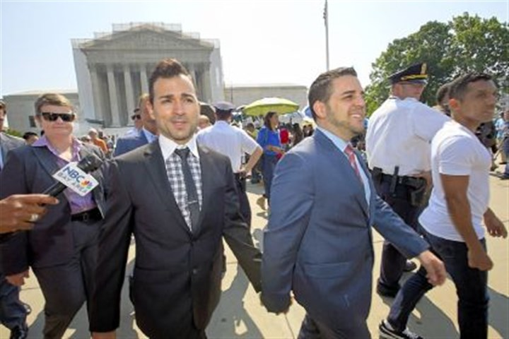 Jeff Zarrillo and partner Paul Katami Proposition 8 case plaintiffs Jeff Zarrillo, left, and partner Paul Katami leave the Supreme Court on Tuesday in Washington.