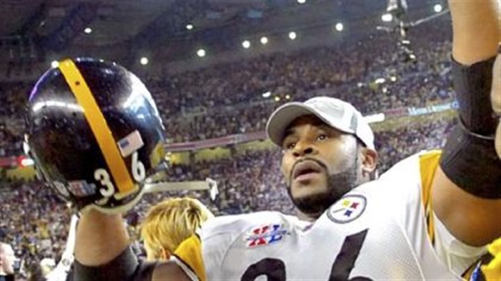 Jerome Bettis celebrates Jerome Bettis celebrates the 21-10 victory against the Seahawks in Super Bowl XL Feb 5, 2006, in Detroit. Bettis announced his retirement after the game in his hometown.