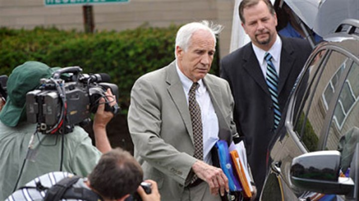 Jerry Sandusky Jerry Sandusky leaves the Centre County Courthouse following the first day of testimony in his trial.