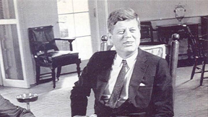 JFK in rocking chair President John F. Kennedy in his rocking chair ...