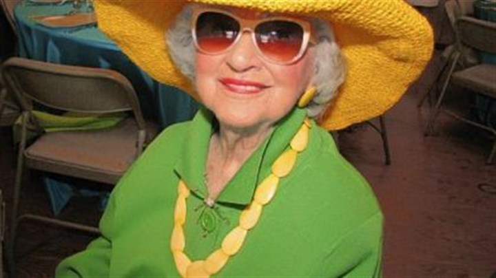 "Jo Hall Jo Hall of Greensburg is 97 and ""never misses"" the hat luncheons. She bought her yellow hat at a discount department store for $15."