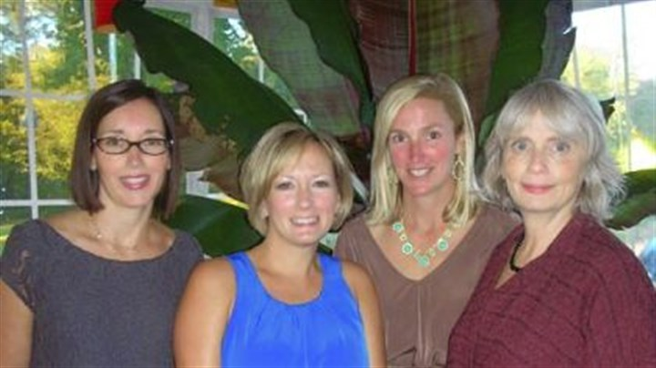 Joanna Flanagan, Kirsten Powell, and Julie Rost with Stephanie F Co-Chairs Joanna Flanagan, Kirsten Powell, and Julie Rost with Stephanie Flom.