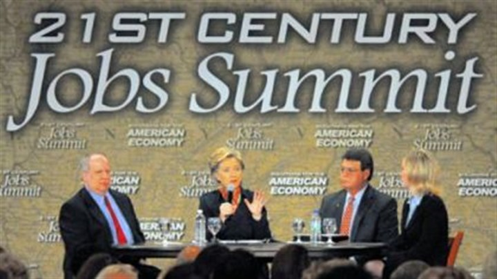 Jobs Summit Democratic presidential candidate Sen. Hillary Rodham Clinton speaks at her 21st Century Jobs Summit on the South Side yesterday. From left on stage are Donald F. Smithy, vice president of economic development at MPC Corp.; Mrs. Clinton; John W. Manzetti, president and CEO of Pittsburgh Life Science Greenhouse; and Christine M. Pambianchi, vice president of human resources at Corning Inc.