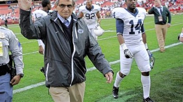 Joe Paterno Penn State head coach Joe Paterno waves to the crowd as he leaves the field after beating Indiana 41-24 Saturday at Fedex Field in Landover, Md.