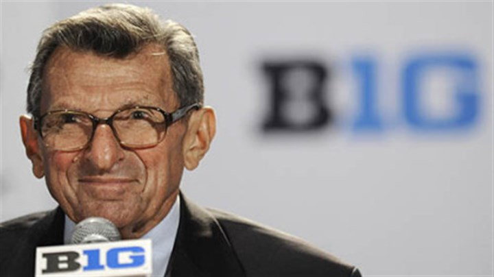 Joe Paterno Penn State coach Joe Paterno talks to reporters during Big Ten football media day in Chicago last month.