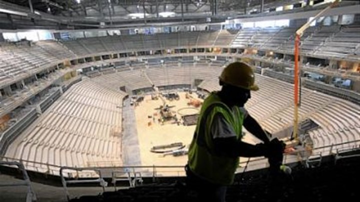Joe Thompson of Homestead Joe Thompson of Homestead installs seats in the upper level of the new Consol Energy Center. The arena will be home to the Pittsburgh Penguins and host a range of entertainment events such as concerts and family shows.