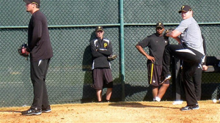 Joel Hanrahan and Evan Meek Pirates relievers Joel Hanrahan, left, and Evan Meek work off the mounds Wednesday at Pirate City in Bradenton, Fla. In the background are Jeff Karstens and Donnie Veal.