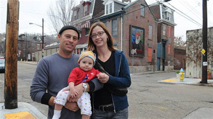 "John Fleenor and Helen Perilloux John Fleenor, 44, his wife, Helen Perilloux, 41, and their 8-month-old daughter, Zephyrine Fleenor, are living on Gist Street, Uptown, a neighborhood that Mr. Fleenor calls ""a work in progress."""