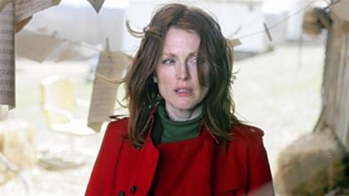 "Julianne Moore in 'Shelter' In the movie ""Shelter,"" filming in the Pittsburgh area, Julianne Moore plays a psychiatrist opposite Jonathan Rhys Meyers, a troubled patient."